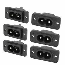 2 Pin IEC 320 C8 Screw Mount Inlet Plug Socket AC 250V 2.5A 6pcs SY