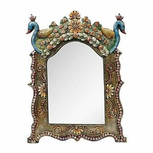 Royal Antique Mirror Frame Hand Crafted Mirror Frame Hand Painted Peacock Decor