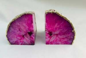 Handmade Pink Plated Agate Bookends Brass Gemstone Natural Edges