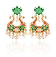 Bridal Wedding Women Fashion Indian Handcrafted Painting Big Dangle Earrings Set