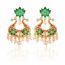 Bridal Wedding Women Fashion Indian Handcrafted Painting Big Dangle Earrings Set