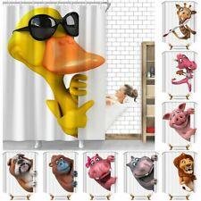 Funny Peeping Animals Waterproof Polyester Bathroom Shower Curtain With Hooks