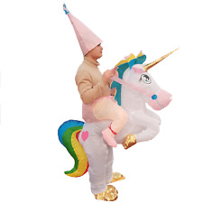 Inflatable Rainbow Unicorn Costume for Adult Rider Halloween Cosplay Party Dress