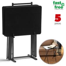 TV Folding Table Set 5 PCS Modern Wood Snack Dinner Tray Stand Rustic Black Gray