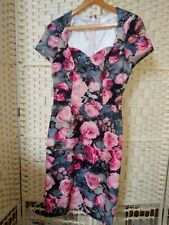 Paper Dolls Pink Floral Wiggle Pencil Dress Sweetheart Neckline Size 8