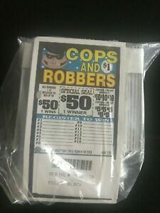 """Cops & Robbers"" 1 Window Pull Tab 150 Tickets Payout $105 Free Ship USA"