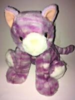 "All Plush Purple And White Striped Cat   8"" Plush Stuffed Animal"