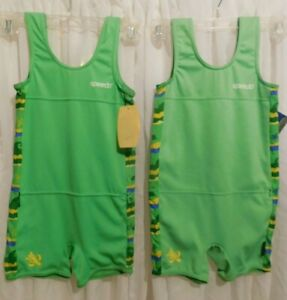 """(2) Speedo Boy's size 4-6 Years 24"""" Chest Green Pullover One Piece SWIMSUITS"""