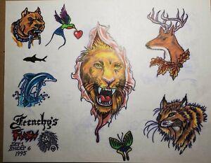 vintage original '95 tattoo flash brian frenchy lion deer pitbull dog from monk