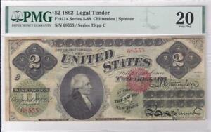 1862 Legal Tender $2 Note Fr 41a PMG 20 Chittenden Spinner Series 3-88