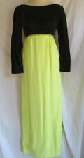 Vtg 60's 70's.Tori Deb.Velvet.Chiffon.Empire .Maxi.Dress.sz Small