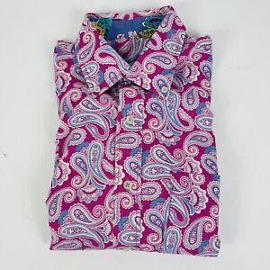 Alan Flusser Men's Pink Blue Paisley Long Sleeve Button Up Flip Cuff Size Medium