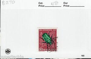 1957 Switzerland #B270 Θ used beetle , insect postage stamp.