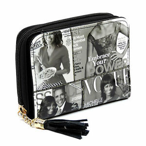 Michelle Obama Printed Women's Bifold Wallets with Tassels and Wristlet