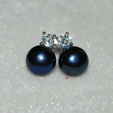 Peacock Black 9mm Button Genuine Freshwater Pearl Earrings In Solid 925 Silver