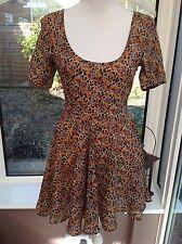 ASOS Orange & Brown Skater Dress - Size 8 - Floral And Animal Print,