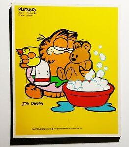 Vintage 1978 Garfield Pooky's Bath 6-Piece Wooden Tray Puzzle Playskool Complete
