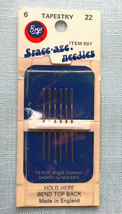 New Vintage BOYE 6 SPACE-AGE Tapestry Needles 22 Made in England Item 597
