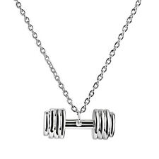 Men & Women's Barbell Dumbbell Charm Pendant Gym Crossfit Jewelry Necklace
