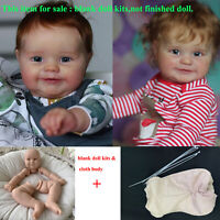 Unpainted 24in Reborn Baby Doll Kits DIY Vinyl Head + Full Limbs + Cloth Body