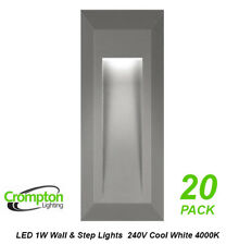 13 x LED Step & Wall Lights Grey Surface Mount Exterior 240V 1W Cool White