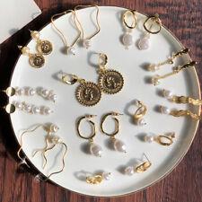 Women Pearl Earrings Dangle Irregular Ear Studs Coin Geometry Eardrop Earrings