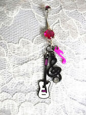 WHITE GUITAR - BLACK G CLEF & PINK MUSIC NOTE - 3 CHARMS 14g PINK CZ BELLY RING