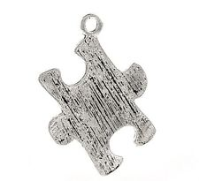 """Puzzle Piece Charms Autism Awareness Aspergers Silver 3/4"""" Lot of 10"""