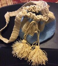 Handmade Crochet  Blue And Beige bag(YOU CAN BUY IT NOW)