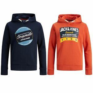 Jack and Jones Boys Sweatshirts Kids Junior Hoodies Logo-Print Warm Comfortable