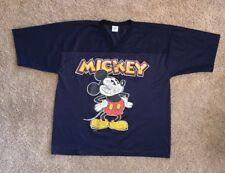 Vintage Disney Mickey Mouse Navy Blue Short Sleeve Football Jersey Sz L