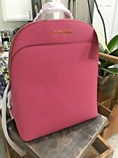 MICHAEL KORS EMMY LARGE SAFFIANO LEATHER TECH FRIENDLY BACKPACK in TULIP $348
