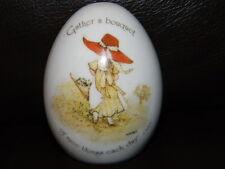 Vtg. Holly Hobbie ceramic egg-Original Sticker-dated 1974-Gather a Bouquet -Htf