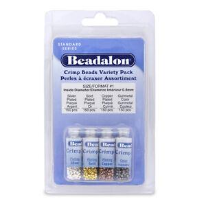 Crimp Beads Variety Pack Size 1 600/pkg-silver-, Gold-, Copper & Hematite