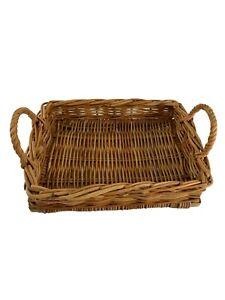 "Wicker Rattan Natural Rectangle Tray Basket W Handles 14"" X 10"" X 3"" Farmhouse"