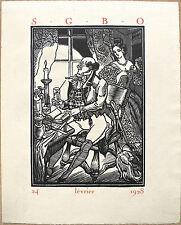 Bois gravé, Menu, S.G.B.O, par Maximilien Vox, 1928