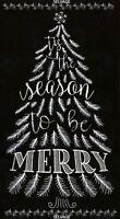 "24"" Fabric Panel - Timeless Treasures Jolly Chalkboard Christmas Tree Word Black"