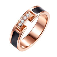 18K Rose Gold Black Enamel Cz Band Men Women's 5MM Titanium Steel Ring Size 4-10