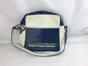 American Express Vinyl Carry-on Travel Bag White & Blue Vintage