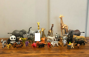 Assorted Safari Animals LOT of 33: Giraffe Elephants Zebra Tiger Hippo Chimps