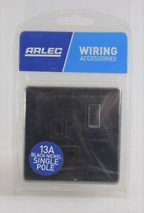 Arlec 13Amp Single Switched Socket Screwless Black Nickel 1 Gang 9111GBBN  NEW
