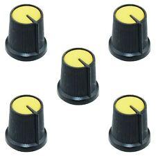 5 x Yellow 6mm Pointer Potentiometer Control Knob