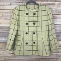 Escada Vintage Margaretha Ley Yellow Windowpane Wool Blazer Jacket Size 34