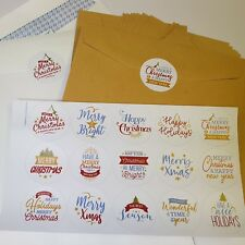 60x Merry Christmas Stickers Labels Decorating Present Seals 30mm Xmas Envelope