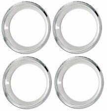 "14"" Chrome Stainless Steel Deep Dish Trim Ring Set w/ Stepped Edge 14""x7"" Wheel"