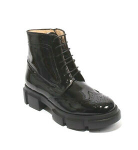 Luca Grossi 037 Black Patent Leather  Zip Lace Ankle Oxfords Boots 38 / US 8