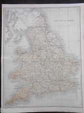 Original Antiquarian Coloured Map of England and Wales - c1895 - James Virtue