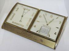 Vtg Bureau Pendulette Swiss Clock Calendar Barometer 1950s Hella Imhof - 254