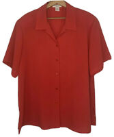 Notations Woman Red Short Sleeve Button-Down Collared V-Neck Top Blouse Size 1X