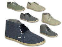 Mens Pumps Crosshatch High Top Flat Shoes Trainers Canvas Desert Lace Up Casual